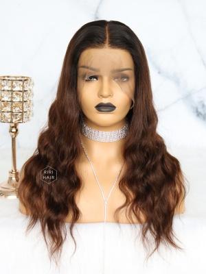 Wavy Ombre Dark Brown 360 Frontal Wig Virgin Human Hair [360W12]