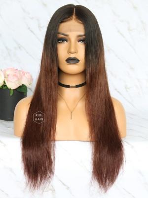 Ombre Brown Virgin Brazilian Hair Lace Front Wig [CARMELLA]