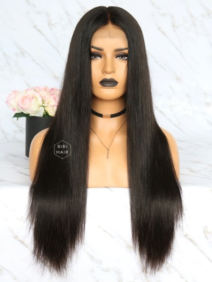 Pre-Plucked Lace Front Wig Black Virgin Hair Silky Straight [RLW01]