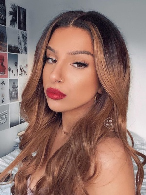 Ombre Golden Brown Color Virgin Brazilian Hair Lace Front Wig [JESSICA]