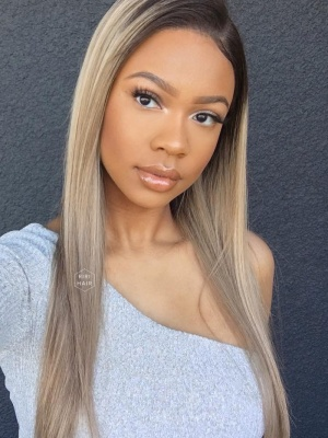 Ash Blonde with Highlight Virgin Brazilian Hair Lace Front Wig [SOFIA]