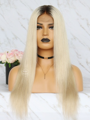 """Luxy Ombre Blonde 5.5"""" Lace Front Wig Virgin Brazilian Hair Straight [CHANEL]"""