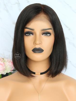 Black Straight Bob Lace Front Wig Virgin Human Hair [RBW01]