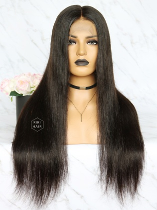 Pre-Plucked Lace Front Wig Black Virgin Hair Silky Straight [RFW01]