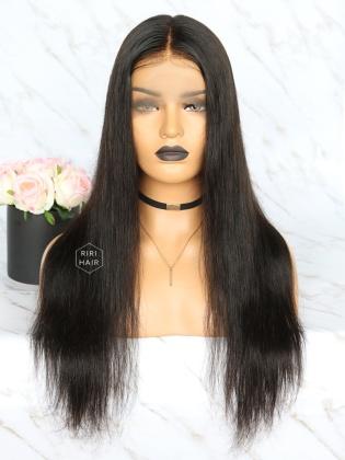 Pre-Plucked Full Lace Wig Black Virgin Hair Silky Straight [RFW21]